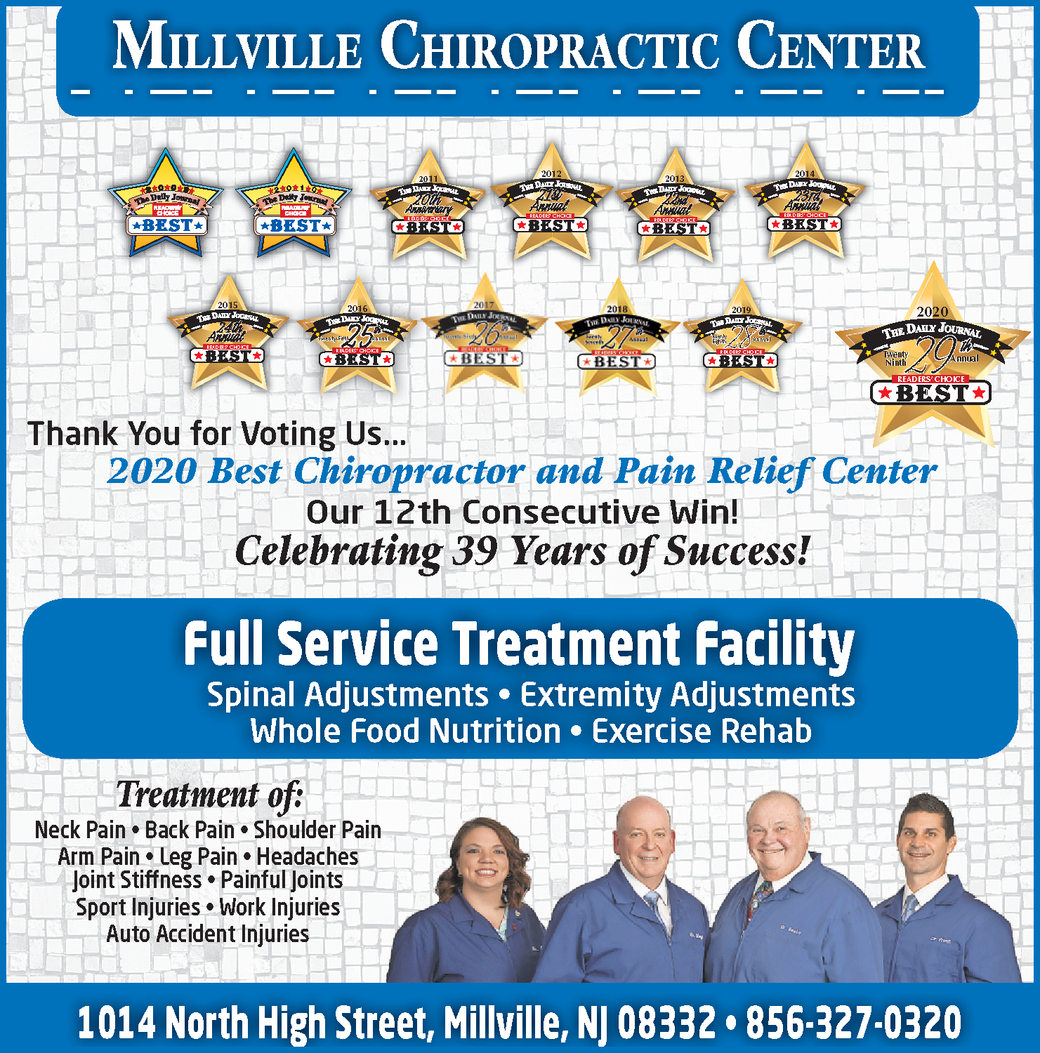 Millville Chiropractic 2020 B o B  Ad